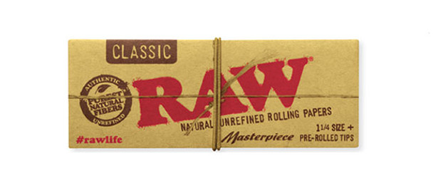 RAW Classic 1-1/4 Masterpiece with Pre-Rolled Tips