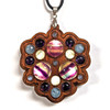 LED Gemstone Talisman Pendant - Walnut with Rainbow Fluorite, Rainbow Moonstone, Black Moonstone and Amethyst
