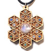 'Cube Expansion' Gemstone Grid Talisman - Maple with Rainbow Moonstone, White Moonstone and Ethiopian Opal