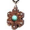 'Cube Expansion' Gemstone Grid Talisman - Walnut with Amazonite, Sunstone and Larimar