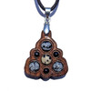 Trinity Mini Grid Talisman - Dalmation Jasper, Snowflake Obsidian & Black Onyx on Walnut