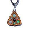 Trinity Mini Grid Talisman - Black Opal and Ethiopian Opal on Cherry