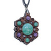 Hex Flower Talisman with Amazonite, Charoite and White Moonstone