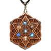Starseed Hardwood Pendant with White Moonstone, Rainbow Moonstone and Sunstone