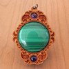 Cherry Hardwood with Malachite and Amethyst 6mm