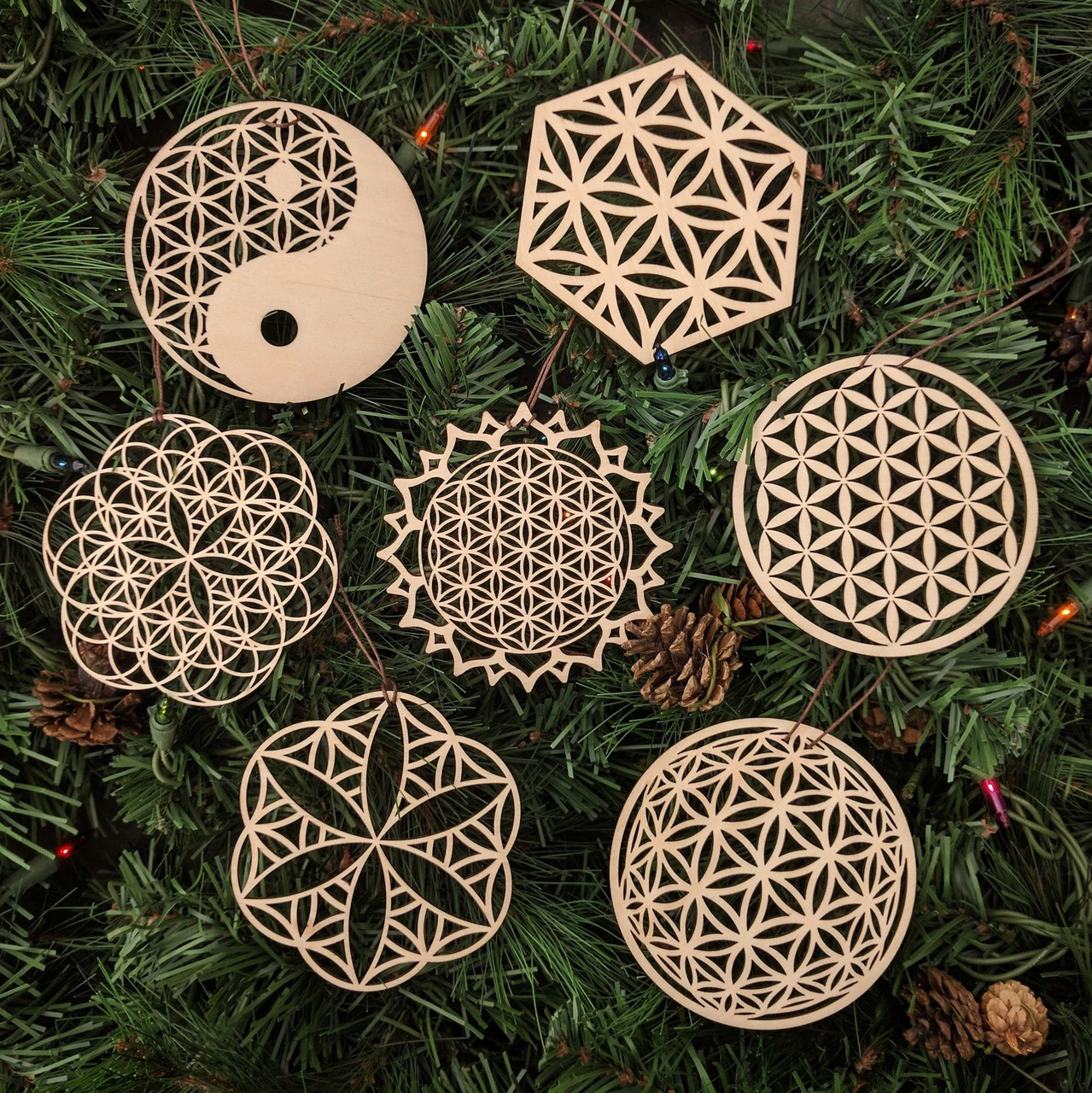 Holiday Decoration Ornament Sacred Geometry Symbol Laser Cut Wood Wooden Yin Yang Flower of Life Ornament
