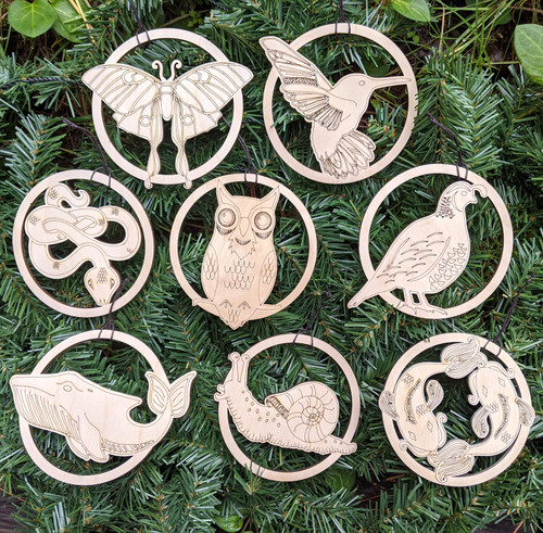 Animal Totem Ornament Set - Set of Eight - Laser Cut Wood