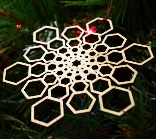 Hexagon Star Fractal Ornament - Sacred Geometry - Laser Cut Wood