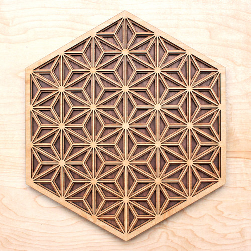 Asanoha Pattern Three Layer Wall Art - Maple, Birch, Walnut