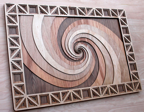 Double Fibonacci Spiral Four Layer Wall Art - Maple, Birch, Red Oak, Walnut