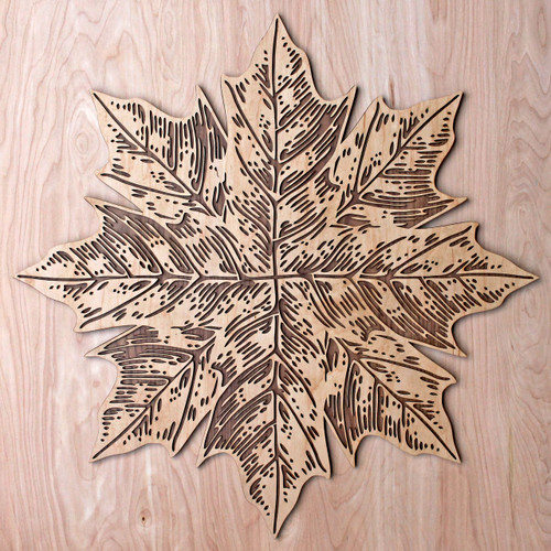 "Maple Leaf Mandala 22"" Two Layer Wall Art"