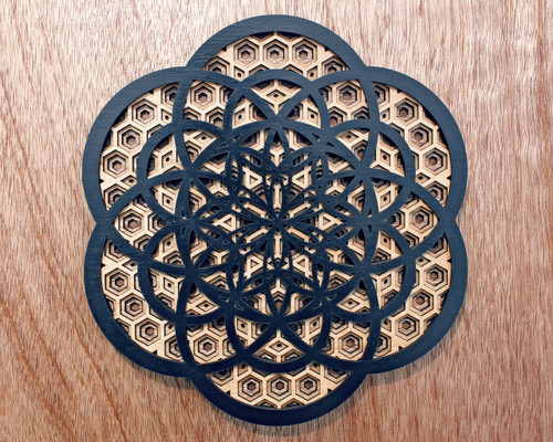 Flower of Creation Honeycomb Grid Four Layer Wall Art