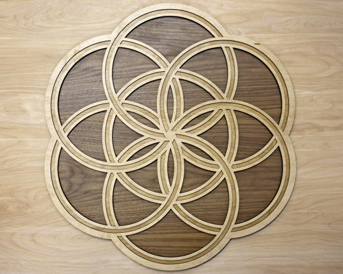 Seed of Life Knot Three Layer Wall Art - Maple, Birch, Walnut