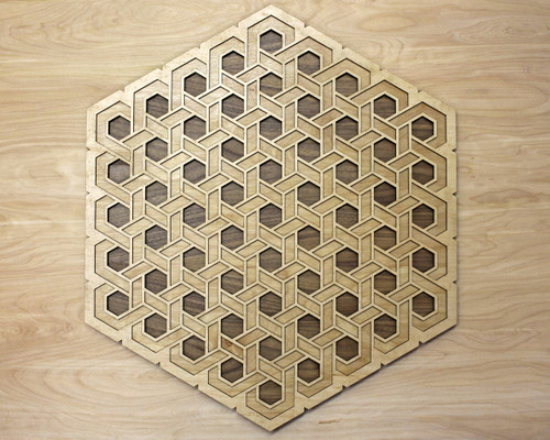 Complex Hexagon Knot Three Layer Wall Art - Maple, Birch, Walnut