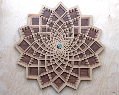 "Square Flower Four Layer 10"" Wall Art - Maple, Birch, Red Oak, Walnut"