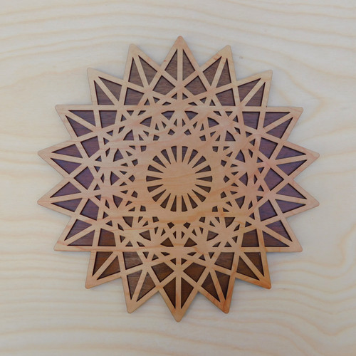 18 Sided Star Fractal Two Layer Wall Art