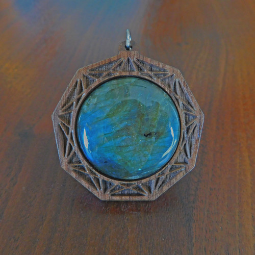 'Dimension of Nine' Hardwood 30mm Gemstone Pendant