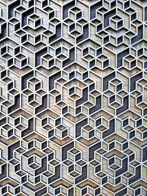 Dimensional Hexagon Mandala Four Layer Wall Art