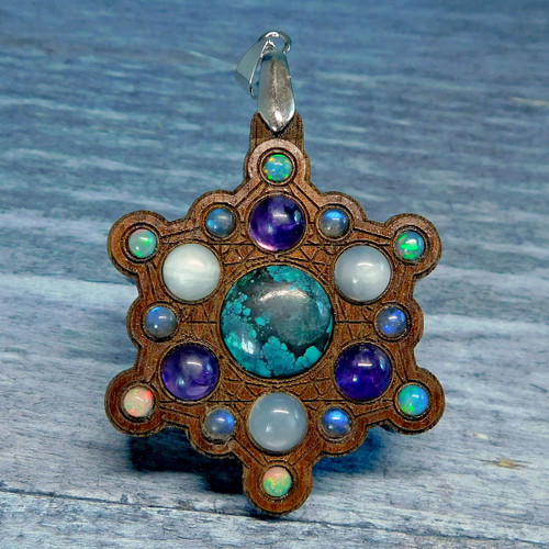 Snowflake Mandala Gemstone Grid Talisman with Turquoise Opal and Amethyst
