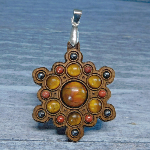 Snowflake Mandala Gemstone Grid Talisman with Pietersite and Tigereye