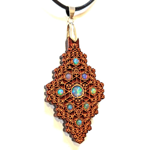 Hexagon Diamond Hardwood Pendant with 9 Ethiopian Opals