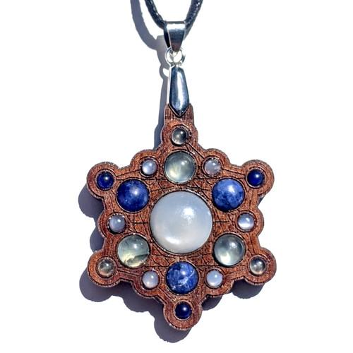 Snowflake Mandala Gemstone Grid Talisman - Walnut with White Moonstone, Sodalite and Prehnite