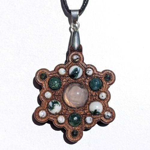 Snowflake Mandala Gemstone Grid Talisman ONE OFF - Walnut with Rose Quartz and Agate