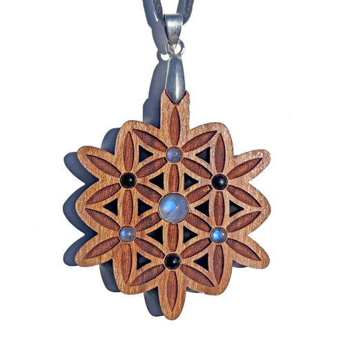 Blooming Flower Gemstone Grid Talisman - Rainbow Moonstone and Black Agate