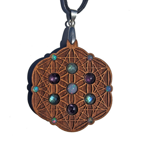 Seed of Life Tetrahedron  Gemstone Grid Talisman with Labradorite Amethyst and Opal