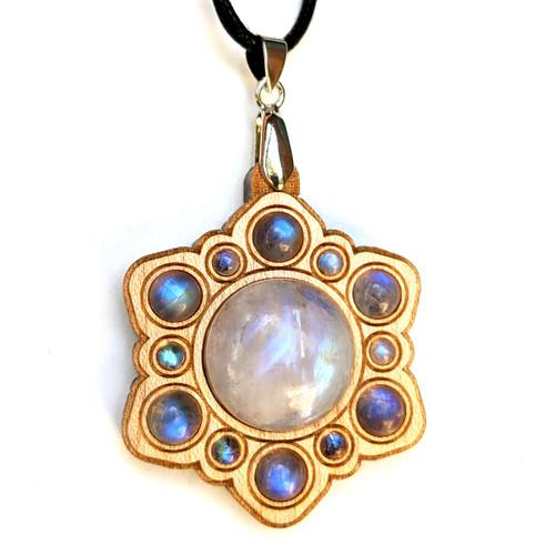 Gemstone Mandala Talisman with Rainbow Moonstone on Maple