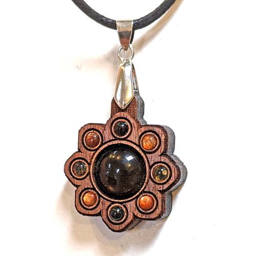 Mini Gemstone Mandala Talisman with Smoky Quartz, Sunstone and Citrine on Walnut