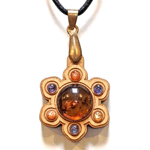 Mini Gemstone Mandala Talisman with Amber, Sunstone and Tanzanite on Cherry