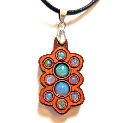 Mini Gemstone Mandala Talisman with Ethiopian Opals on Cherry