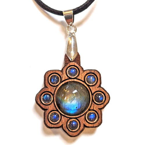 Mini Gemstone Mandala Talisman with Labradorites on Walnut