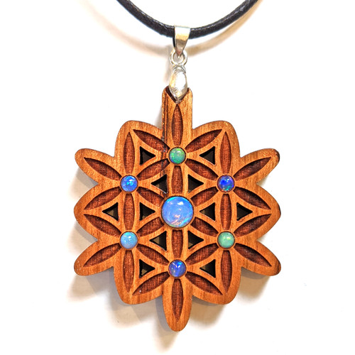 Blooming Flower Gemstone Talisman with Ethiopian Opals