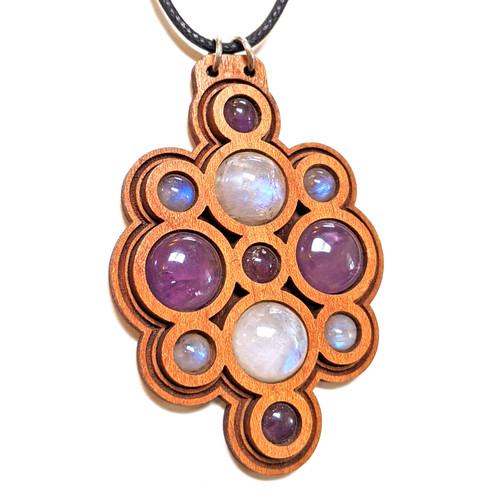 'Orb Bubble' Gemstone Grid Talisman ONE OFF - Cherry with Rainbow Moonstone and Amethyst