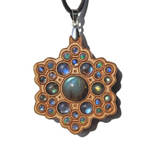 'Star Ascension Mandala' Gemstone Grid Talisman - Ethiopian Opals, Rainbow Moonstone and Labradorite on Maple - SALE