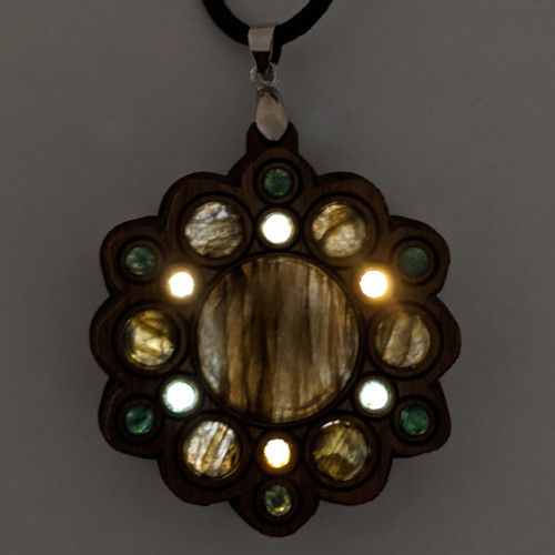 LED Gemstone Talisman Pendant - Sound Reactive - Walnut with Labradorite and Moss Agate