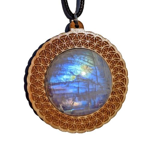 30mm Rainbow Moonstone Maple Wood 'Flower of Life Vortex' Pendant