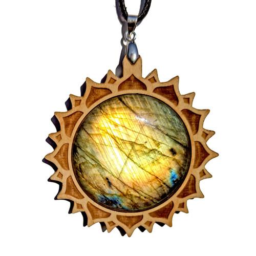 XL 40MM Labradorite Maple Wood 'Lotus Mandala' Pendant