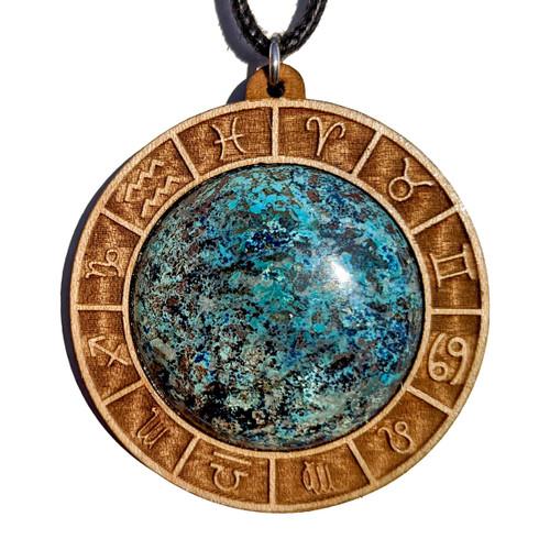 30mm Chrysocolla Maple Wood 'Zodiac Gate' Pendant