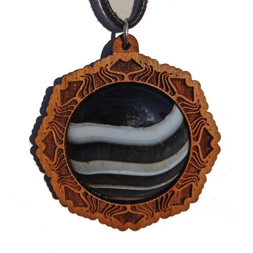 30mm Tuxedo Agate Cherry Wood 'Zodiac Gate' Pendant