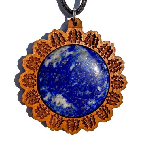 30mm Lapis Lazuli Cherry Wood 'Forest Mandala' Pendant