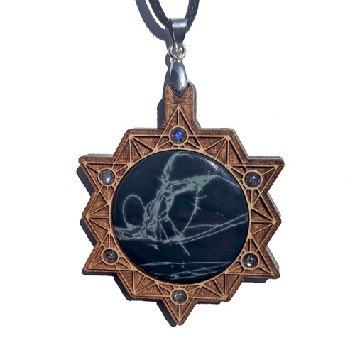 30mm Spider Web Obsidian with Labradorite on Maple Wood '64 Tetrahedron Grid' Pendant