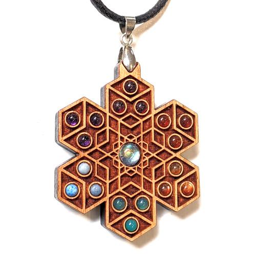 'Cube Expansion' Gemstone Grid Talisman - Cherry with Labradorite, Garnet, Amethyst, Carnelian, Sunstone, Green Onyx and Larimar
