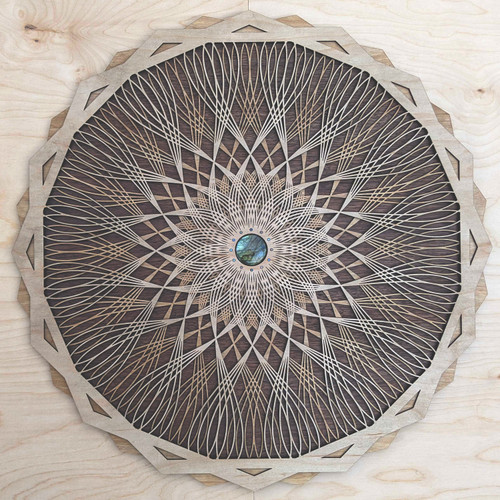 Optical Iris Three Layer Wall Art with Labradorite and Opal