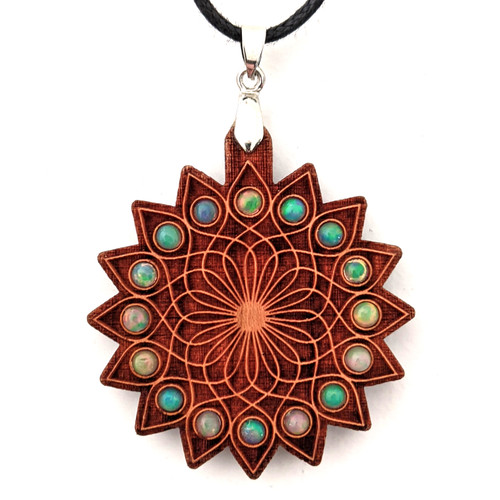 Wandering Lotus Gemstone Grid Talisman - Cherry with x16 3mm Opals