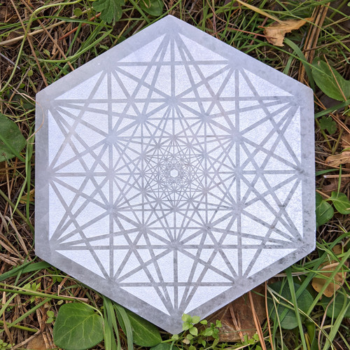 Metatrons Tesseract Engraved Selenite Hexagon - 8in