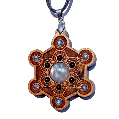 Metatrons Cube Talisman - Rainbow Moonstone & Black Onyx on Cherry