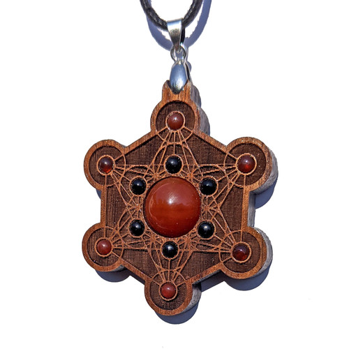 Metatrons Cube Talisman - Carnelian & Black Onyx on Walnut
